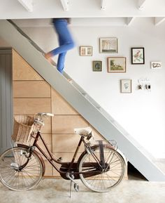 An eclectic home in Cape Town with scandinavian and victorian influences ©Micky Hoyle Under Stairs Drawers, Storage Under Staircase, Stair Storage, Fall Home Decor, Autumn Home, Bicycle Storage, Loft Interiors, Contemporary Interior Design, Victorian Homes