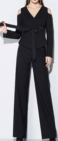 Black Cold-Shoulder Tie-Belted Jacket & Pant Set