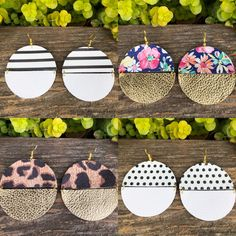 A solid color and a pattern together What more could you want Handmade with Genuine Leather Nickel Free Gold Finishing Five Styles 1 Floral with Gold 2 Polka Dots with White 3 Leopard with Gold 4 Black and White Stripes with White 5 White Leopard with Mu Diy Leather Earrings, Wood Earrings, Diy Earrings, Earrings Handmade, Handmade Bracelets, Handmade Leather Jewelry, Teardrop Earrings, Homemade Jewelry, Leather Projects