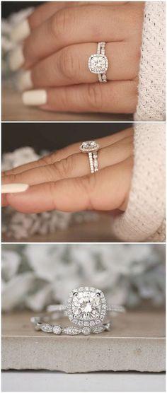 1.20ct Moissanite Engagement Ring Cushion 7mm Moissanite 14k White Gold and Diamond Ring Diamond Half Eternity Milgrain Band Promise Ring