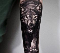 wild wolf tattoo by andrey stepanov