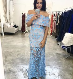 A lovely full length dress by Jarlo London. An off shoulder style featuring floral embroidery lace and fishtail train. Blue Bridesmaids, Blue Bridesmaid Dresses, Prom Dresses, Bridal Traditions, Off Shoulder Fashion, Bride Hairstyles, Nice Dresses, Amazing Dresses, Henna