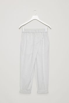 COS image 4 of Overlap cotton trousers in Light Grey