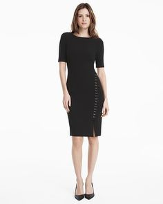 THREE-QUARTER SLEEVE BLACK LACE-UP SHEATH DRESS STYLE: 570193245