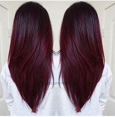 Straight-V Hairstyles Long Hair 2017 Cherry Wine hair color, colour Hair Color For Black Hair, Ombre Hair Color, Hair Color Balayage, Cool Hair Color, Hair Highlights, Burgundy Highlights, Black Cherry Hair Color, Color Highlights, Types Of Hair Color