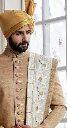Mens Head Wrap, Achkan, Indian Groom Wear, Indian Wedding Outfits, Sherwani, Jodhpur, Dress Styles, Turban, Head Wraps