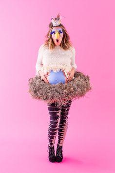 Save this DIY maternity Halloween costume idea to make a bird nest costume.