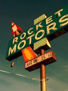 """Rocket Motors"" via Cool Retro Signs - RetroLifestyle.com"