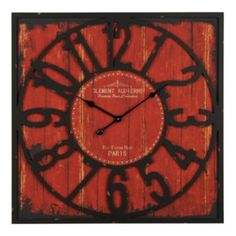 Distressed Wood Red Square Clock
