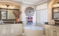 This master bath from Village Builders Austin is simply stunning