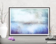 A sky to light up your room! Abstract decor blue painting - Printables at FraBor Art.  #walldecor #homedecor #interiordesign #painting # modernart #abstract #digital #digitalart #downloadable #printable #affordable #etsy #art #landscape #sky #clouds #natural #blue