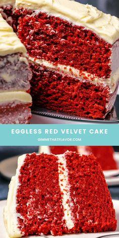 Eggless Red Velvet Cake, Eggless Carrot Cake, Eggless Chocolate Cake, Eggless Desserts, Eggless Recipes, Eggless Baking, Baking Recipes, Red Velvet Cake Ingredients, Best Dessert Recipes