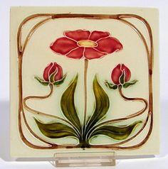 Jugendstil Fliese Kachel Georg Schmider Möbelfliese Tile Tegel Art Nouveau -1-