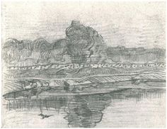 Landscape with the Oise Vincent van Gogh Drawing, Pencil, black chalk Auvers-sur-Oise: June, 1890