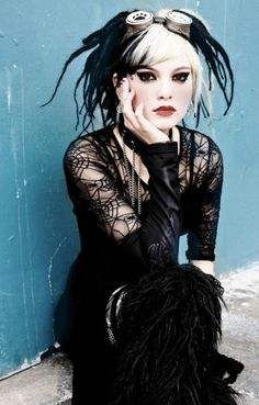 Model : symbolic-symmetry goth gothic lace black white black hair alternative