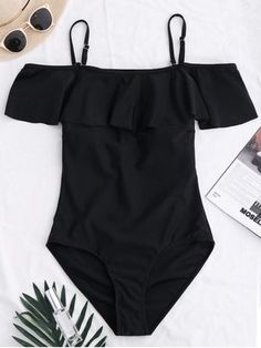 $14.99 Off The Shoulder Flounced One-Piece Swimwear - BLACK L