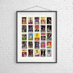 NBA Hall of Fame Basketball Card Poster  Art by PigeonStudios