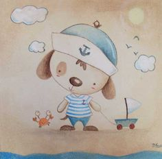cuadro infantil Baby Painting, Summer Painting, Nautical Nursery, Nursery Art, Cartoon Dog, Cute Cartoon, Art Wall Kids, Art For Kids, Welcome Card