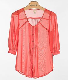 Daytrip Chiffon Shirt  i JUST BOUGHT 1 IN NAVY W a tuxido button  front. it is so cute but within 5 min. i look likr i just got out if bed.i love this one too