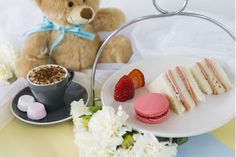 Teddy Bear High Tea.   The perfect Tea time for kids! Finger sandwiches, macaron, strawberry and babyccino or juice with marshmallows on the side.   Only at Passiontree Velvet