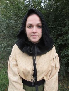 WOMEN'S CROCHETED 100% WOOL CIVIL WAR STEAMPUNK DICKENS BLACK MOURNING HOOD | Clothing, Shoes & Accessories, Costumes, Reenactment, Theater, Reenactment & Theater | eBay!