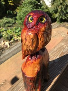 Sculpture: Chainsaw Carved Owl Red Cedar Wood Chainsaw Wood Carving Garden Rustic Log Decor