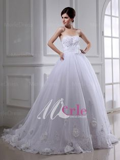 Cute Ball Gown Beading Hand-made Flower Organza Wedding Dress with Sash