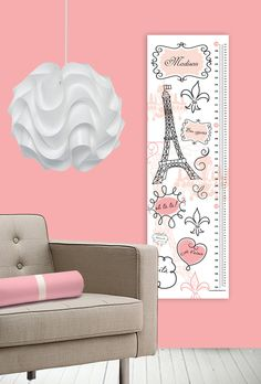 Childrens Custom Growth Chart - Paris - Personalized for Kids and Baby Nursery - Pink - Metric and english rulers