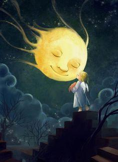 Kissing the moon good night.