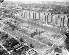 Clearing entire blocks, making way for the Dan Ryan, 1959, Chicago.