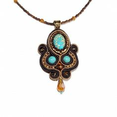 Soutache Turquiose Necklace Pendant - Persian Night Collection. Shop www.CraftBoutique.ca. Free shipping within Canada & USA.