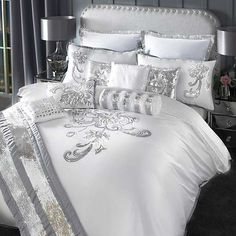 Turn your bedroom into a centre piece with the By Caprice Valeria Duvet Cover. This duvet cover features sequin floral design giving your room a very elegant and glamorous feel. Silver Bedroom, Glam Bedroom, Bedroom Decor, Luxury Bedding Sets, Beautiful Bedrooms, Beautiful Beds, Luxurious Bedrooms, Bed Design, Bed Spreads