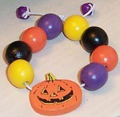 Halloween Pumpkin and Beads Childs Bracelet by GlorysCloset