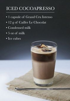 Find your next favorite espresso treat by making this recipe for Iced Cocoapresso. Chocolate and milk combine to create a creamy, elegant texture that is sure to sure to enchant your taste buds this spring. Coffee Is Life, I Love Coffee, Coffee Art, Iced Coffee, Coffee Shop, Coffee Drink Recipes, Coffee Drinks, Nespresso Recipes, Café Chocolate