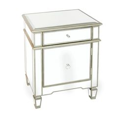 CLAUDETTE - Mirrored nightstand with painted silver edge and crosshatch detailing. Nickel ring and drawer pull.