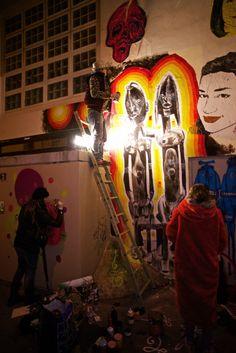 2014 december, Paris 20e. Faites de la lumière # 2. Wall painting with Paddy, Skio, Bault, meteor painter...
