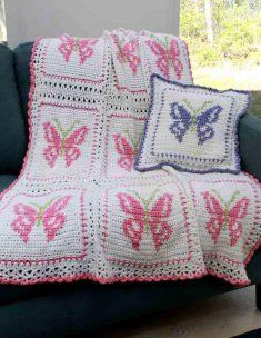"""PA368 Crochet Pattern for Butterfly Afghan and Pillow Crochet Pattern Butterfly Afghan and Pillow   Vibrant colors and a lighthearted design combine to make this gorgeous afghan. This is great throw on the back of a chair or couch to brighten your home up this spring.  Skill Level: Intermediate  Size: 40"""" x 56"""""""