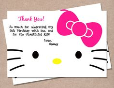Hello Kitty Inspired Thank You Card by PerfectPrintsStudio on Etsy, $3.50