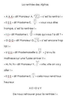 La rentrée des Alphas - Poésie - Le petit cartable de Sanleane Alphabet Alpha, French Immersion, Kids Learning Activities, Grade 1, Back To School, Kindergarten, Preschool, Teaching, Math