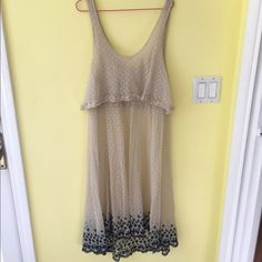 Free People intimates slip Ivory lace slip with black embroidery detail at bottom. Free People Dresses Midi