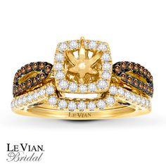 Chocolate Diamonds® 1 ct tw Bridal Setting 14K Honey Gold™