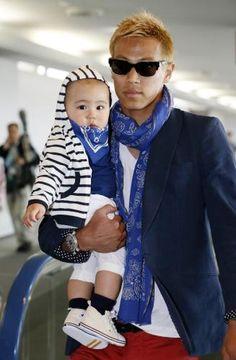 Photo of Keisuke Honda & his  Son
