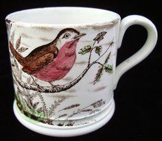 Antique Staffordshire children's mug Childrens Mugs, Vintage Dishware, Vases, Pots, Antique China, China Patterns, Ceramic Cups, Antique Shops, China Porcelain