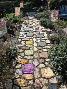 Love the pathway   -   Could use round step stones painted with milk paint