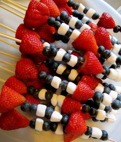 Get strawberries, blueberries and marshmallows and some skewers and have fun making patterned red, white and blue kebobs.