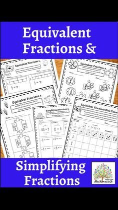 Simplifying Fractions, Fractions Worksheets, Math Resources, Math Activities, Fraction Games, Equivalent Fractions, Primary Maths, Early Math, Australian Curriculum