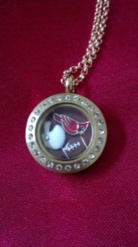 Show your love for the Cardinal Football team with this mini Origami Owl locket with the cardinal, football, and helmet charm.