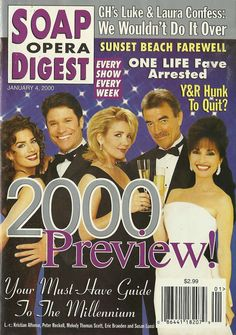 classicsodcovers:Classic SOD Cover Date: January 4, 2000 Kristan Alfonso & Peter Reckell (Hope & Bo, DAYS OF OUR LIVES)Melody Thomas Scott & Eric Braeden (Nikki & Victor, THE YOUNG & THE RESTLESS)Susan Lucci (Erica, ALL MY CHILDREN)