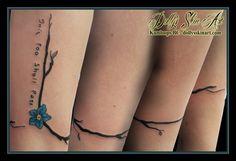 black vine blue yellow forgetmenot handwriting this too shall pass wrist forearm tattoo kamloops dolly's skin art