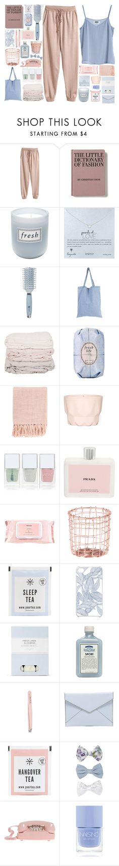 """""""You're all gonna watch me disappear into the sun"""" by hannah-gw-martin ❤ liked on Polyvore featuring MTWTFSS Weekday, H&M, Fresh, Dogeared, Goody, StyleNanda, Surya, Nails Inc., Prada and Mamonde"""